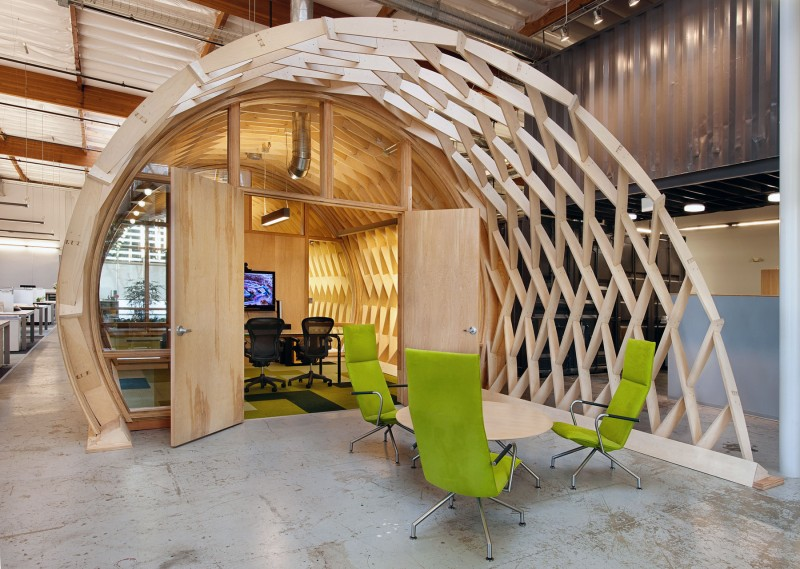 green office interior nature view in gallery wood use the office contemporary office space in california blends creativity with