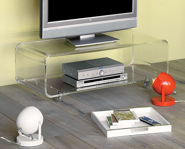 A compact acrylic media console