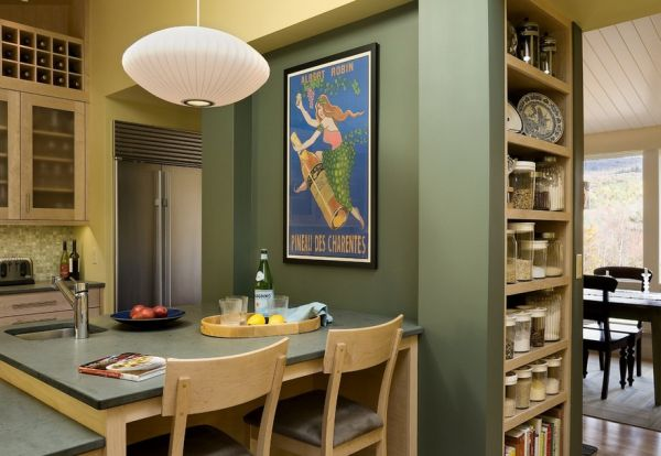 A dashing poster lights up the compact kitchen area