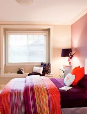A hint of orange to brighten up the bedroom
