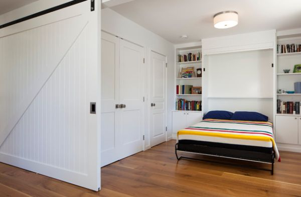 A sliding door and a Murphy bed help create a bedroom out of nothing!