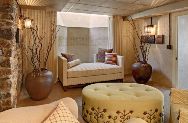 Add the daybed to the basement to create extra seating and sleeping area