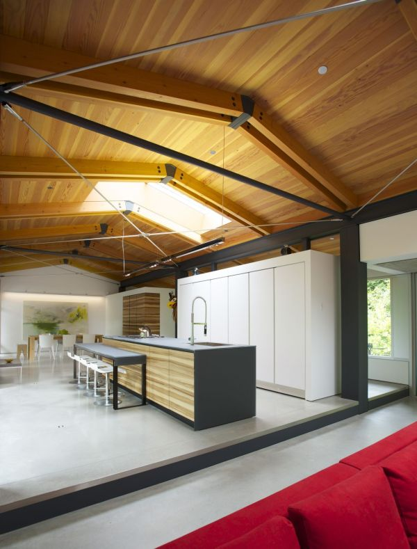 Ample natural lighting floods through the skylight