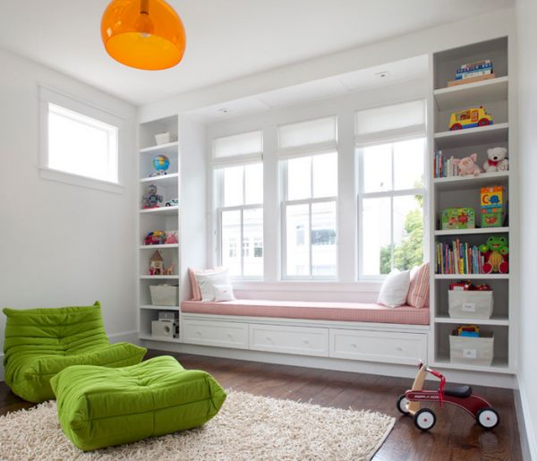 Apple green Togo in the kids' room brings in some plush color