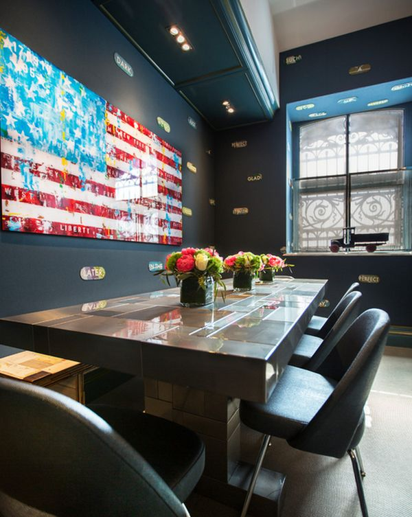 Artistic rendition of the national flag lights up this gorgeous dining space