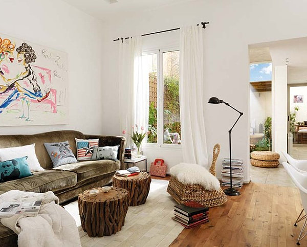 View In Gallery Artistic White Living Room With Bursts Of Color Part 6
