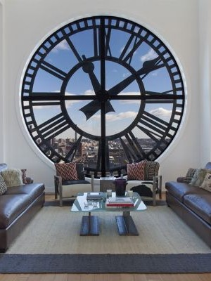 Awesome living room of the Clock Tower penthouse in Brooklyn
