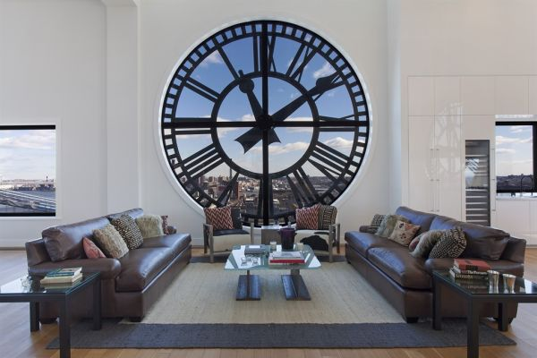 Awesome living room of the Clock Tower penthouse in Brooklyn Striking Wall Clocks Can Give Your Home a Timeless and Dynamic Allure
