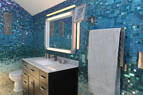 Bathroom with blue mosaic tiles