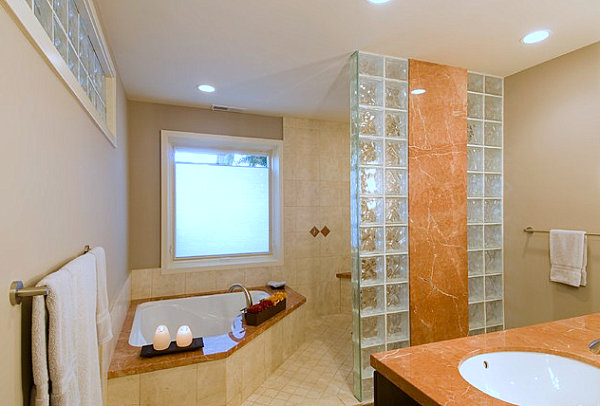 View In Gallery Bathroom With Marble And Glass Block Details