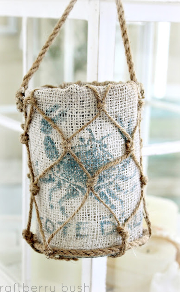 Beachy burlap and rope lantern