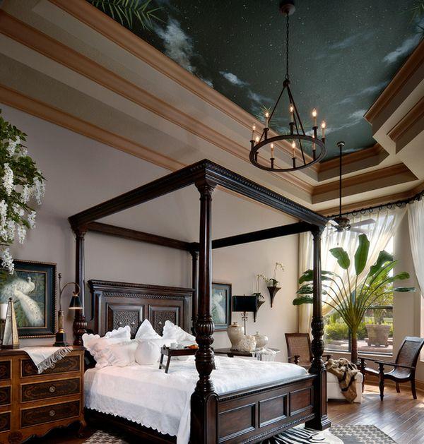 Beautiful night sky ceiling in the bedroom