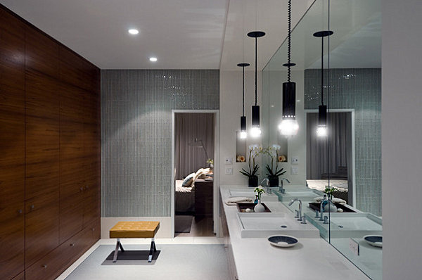 Bench and interesting lighting in a modern bathroom