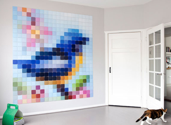 Bird shaped paint chip wall art