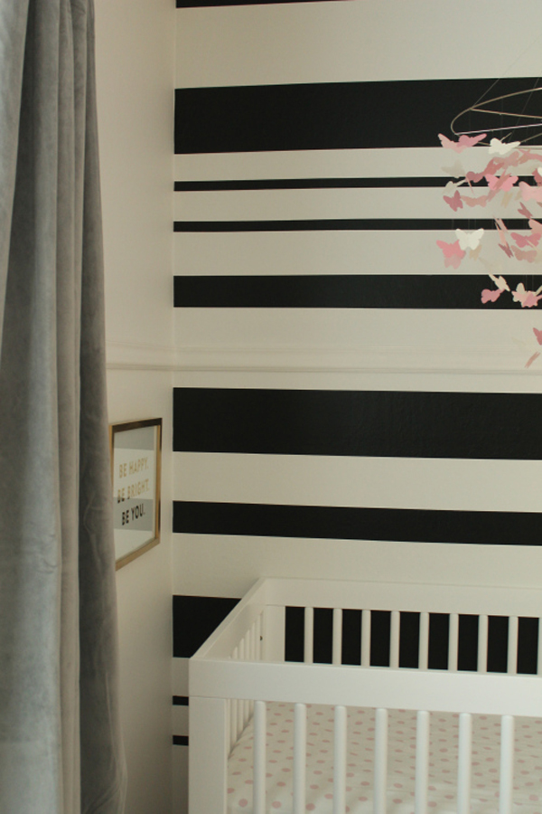 Black and white striped accent wall