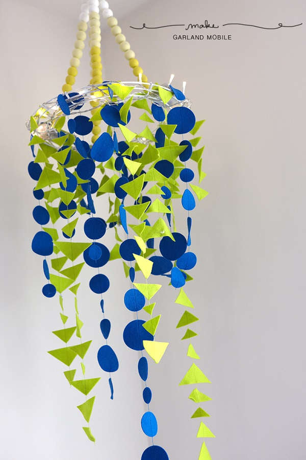 Blue and green garland mobile