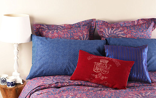 Blue and red patterned bedding