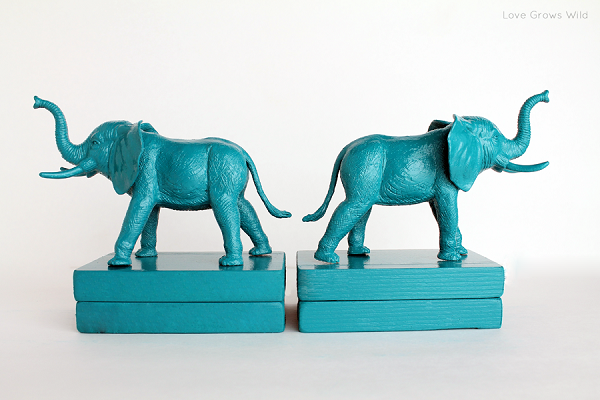 Blue plastic elephant bookends