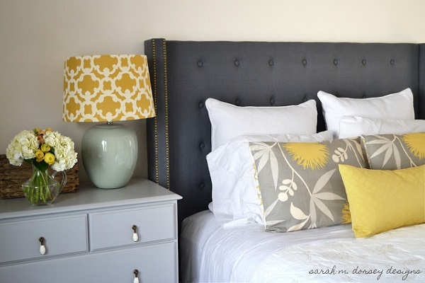 Blue tufted headboard DIY Tufted and Studded: Upholstery Details for Elevated Design