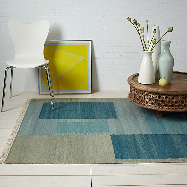 Blue wool dhurrie rug