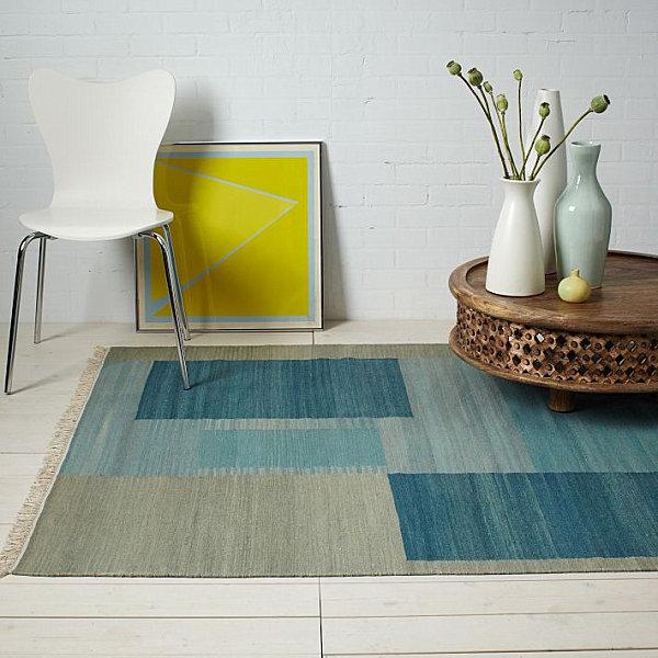 Blue wool dhurrie rug