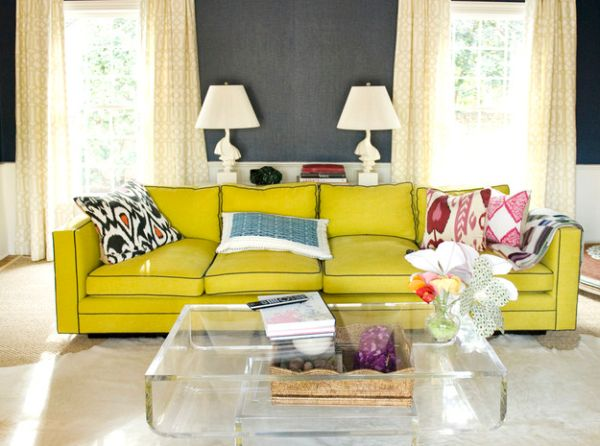 Bold yellow couch adds a hint of retro