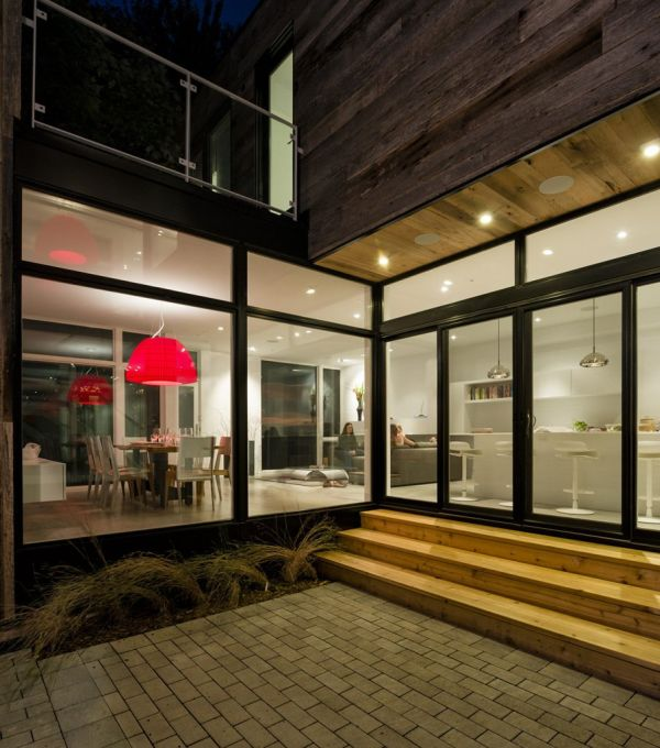 Bright accents of red are added to the interiors