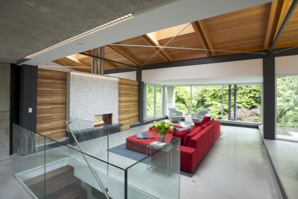 Bright accents of red energize the room