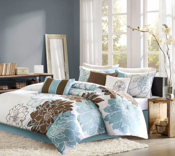 Brown and blue set against a white offer a refined appeal Trendy Teen Girls Bedding Ideas With A Contemporary Vibe