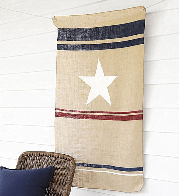 Burlap 4th of July flag