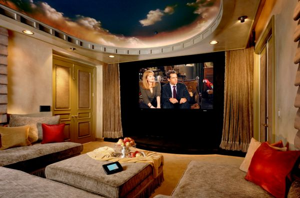 Celestial is the only word to describe the ceiling of this home theater