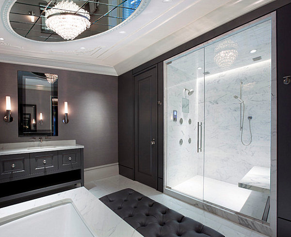 Chandelier in a contemporary bathroom