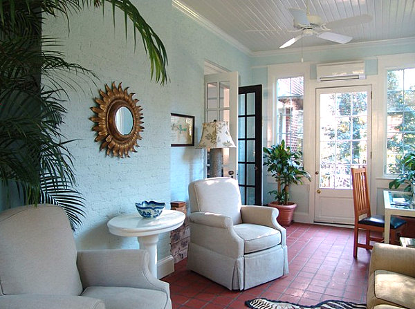 Chic sunroom with elegant decorative details