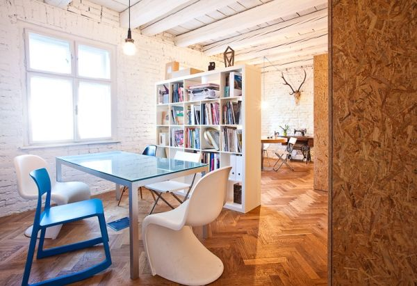 Colorful decor brings in a Scandinavian style to the office