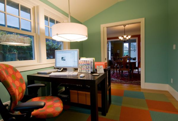 Colorful home office sporting the drum pendant