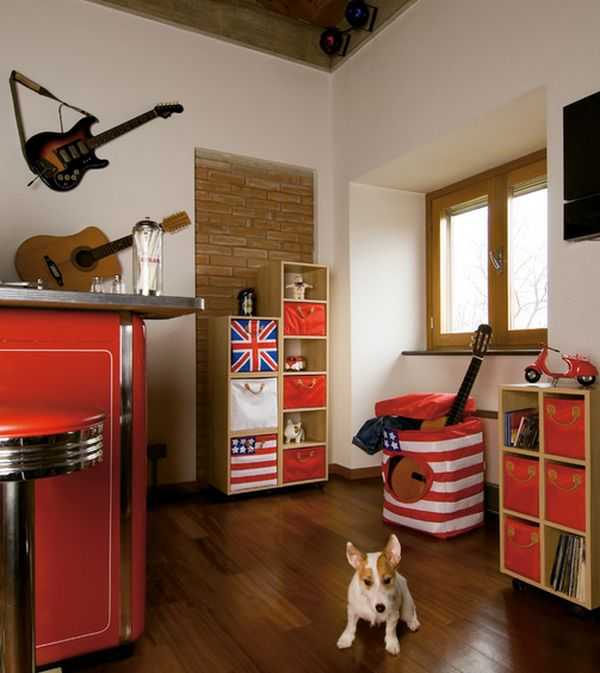 Colorful kids' room with loads on inspiration on the walls