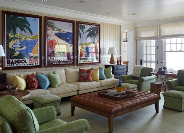 Colorful posters add a touch of tropical flavor to the living room