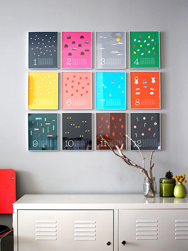 Colorful wall calendar as wall art