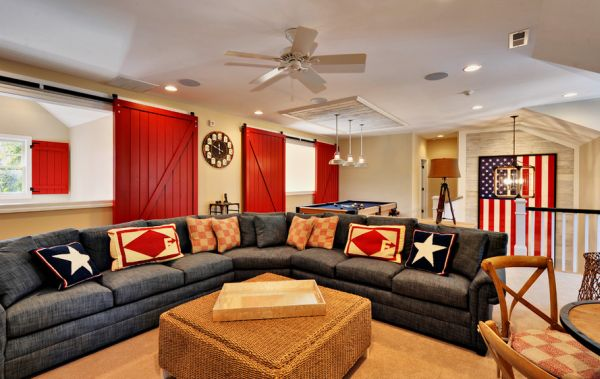 Colors of the family room complement the large framed flag in the backdrop perfectly