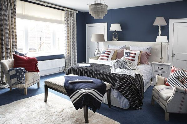 Happy 4th of july interiors inspired by red white blue for Interior design bedroom blue white