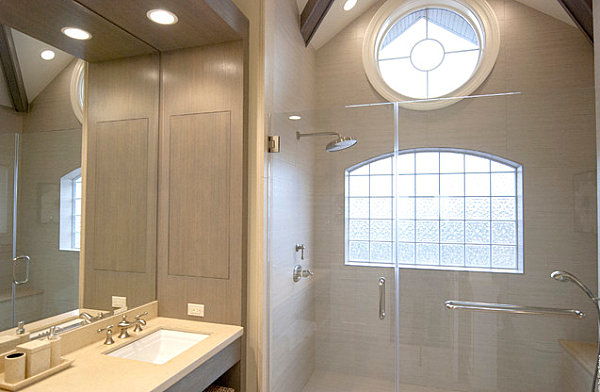 Contemporary New York bathroom with glass block