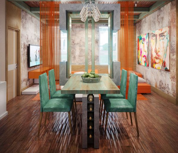 Contemporary dining area with loads of color