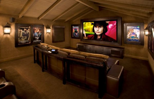 Contemporary media room is a perfect place to showcase your poster collection