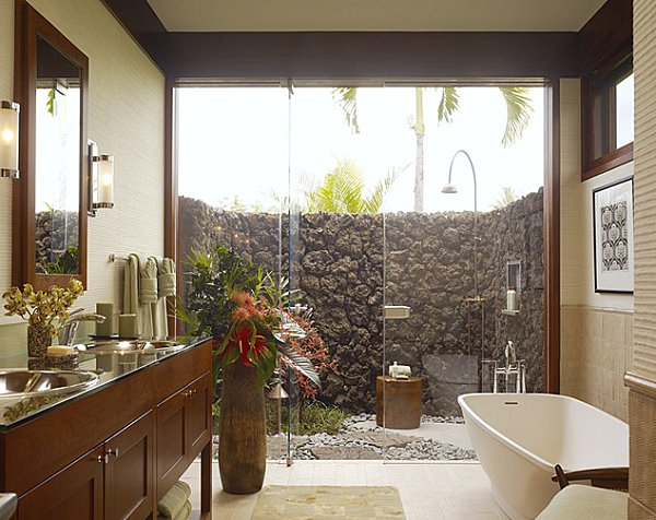 Contemporary tropical bathroom