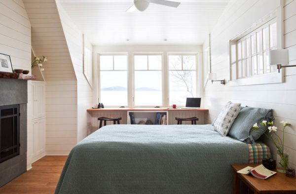Cool Scandinavian style seem appropriate for compact attic bedrooms