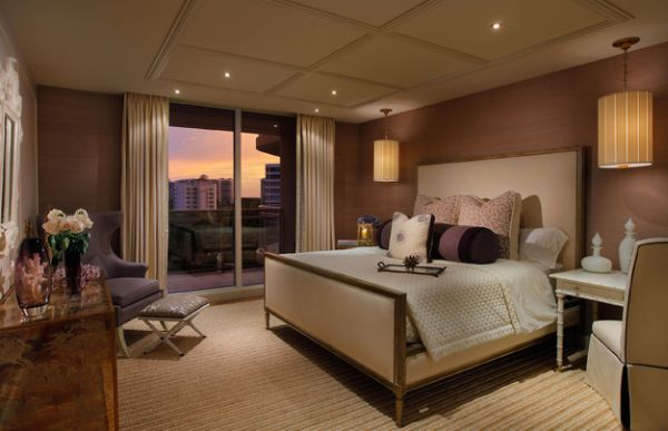 Creative drum pendant additions to a contemporary bedroom