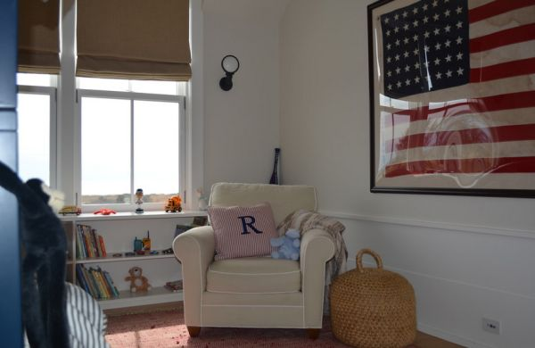 Custom antique flag for the boys' bedroom in white