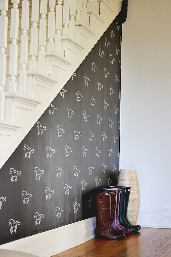 Custom stencil accent wall