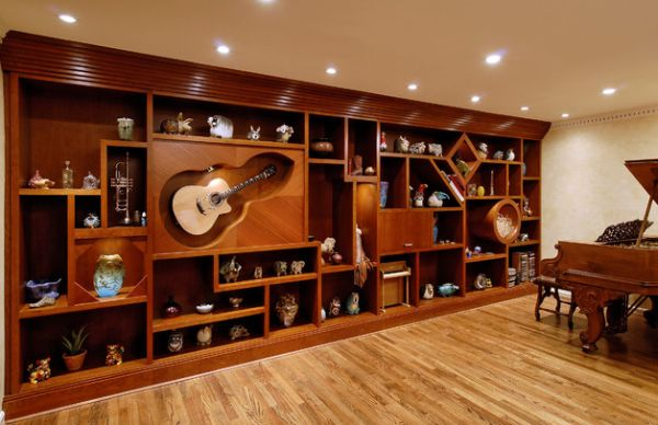 Custom Wall Unit That Allows You To Display Your Own Musical Inclinations