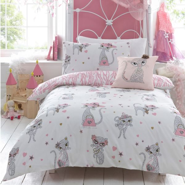 Girls' bedding with a hint of pink and a cute motif sports a stylish look